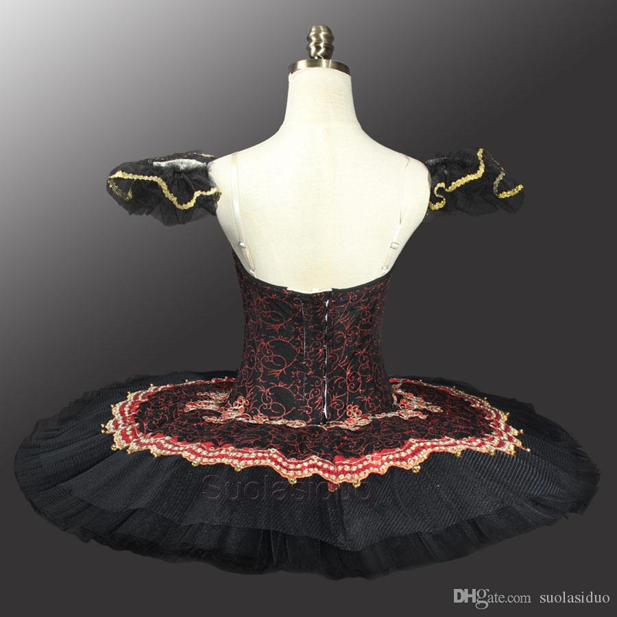 Adult Red Black Swan Classical Ballet Tutu Costume For Sale Red Professional Ballet Tutu Black Ballet Tutus For Performance SD0014