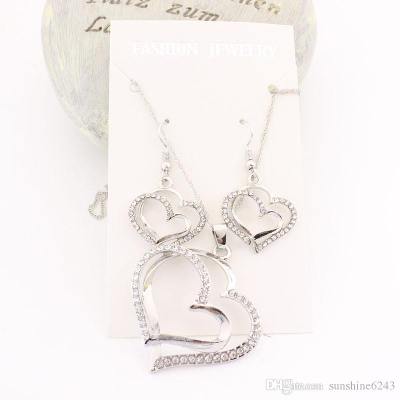 Romantic Wedding Creative Necklace Earring Set Fashion Luxury Crystal Charm Gold Plated Silver Heart Accessories
