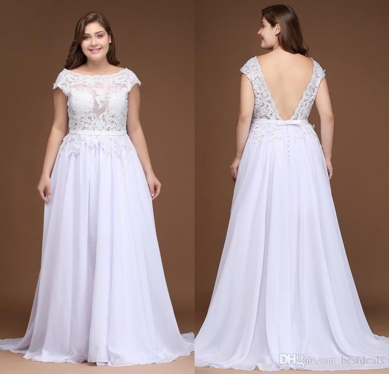 2018 Plus Size Chiffon Country Wedding Dresses Lace Top A Line ...