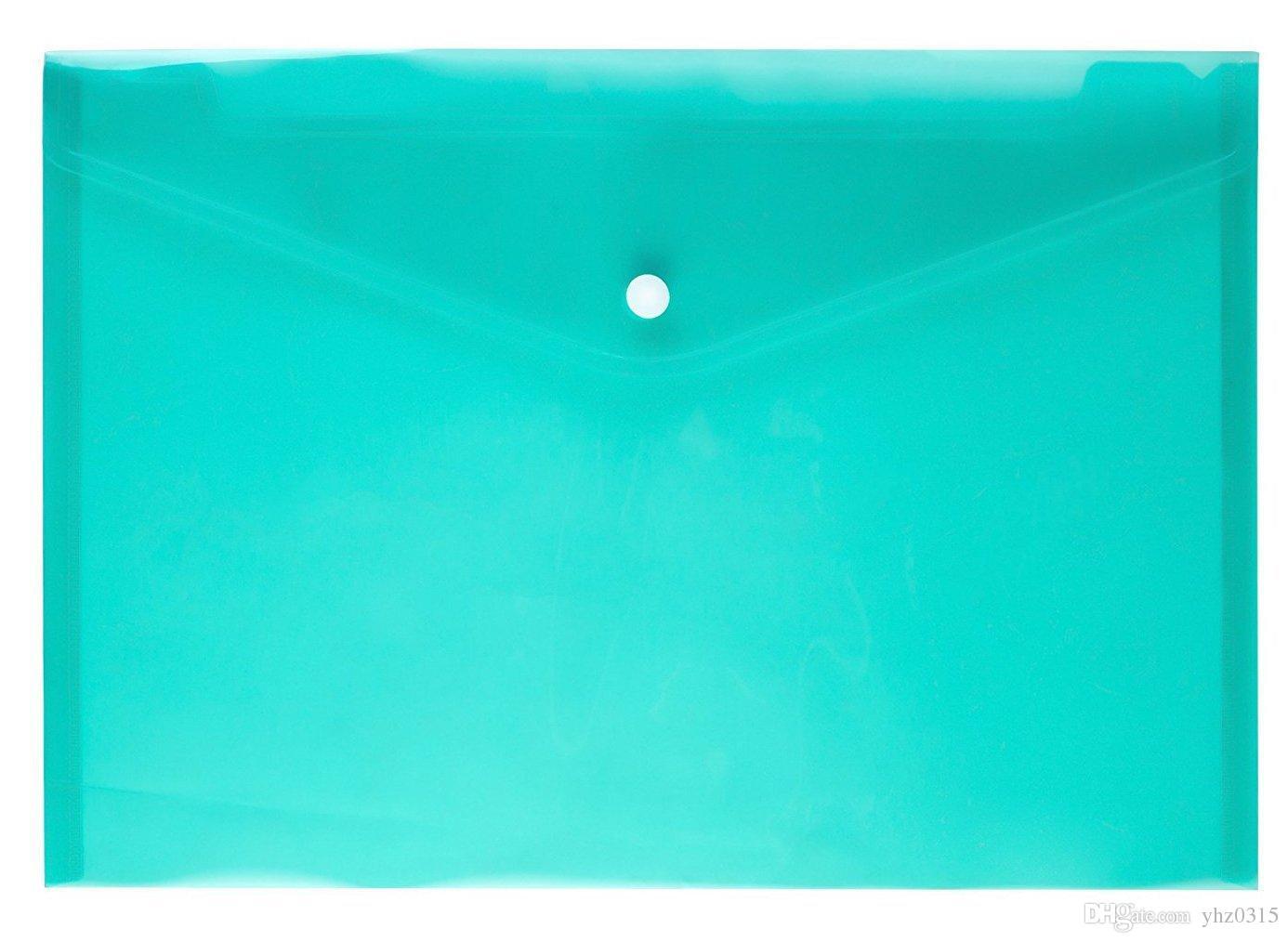 ملف مجلد كيس من البلاستيك الشفاف وثيقة A4 زر غلق بمشبك فجر اللون مصنفة تخزين ملف حقيبة القرطاسية