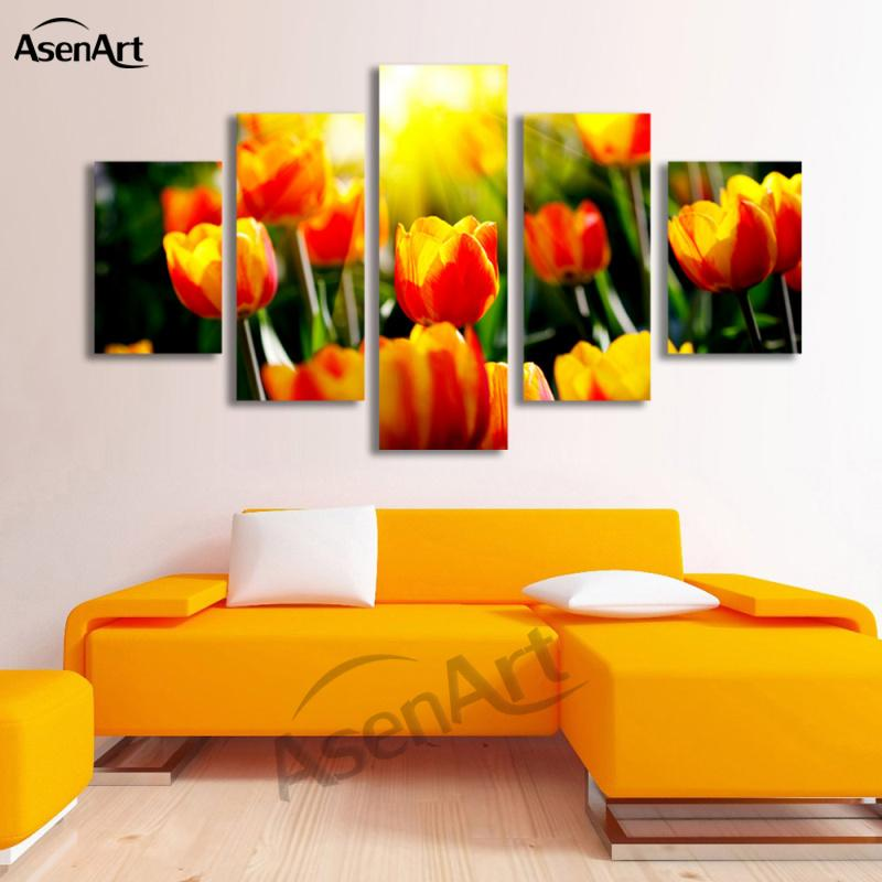 5 Panel Wall Canvas Tulips Flower Painting Canvas Prints Artwork Home Decoration Wall Art Picture For Bedroom Wall Decor Framed Dropshipping