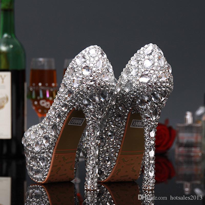 Роскошные выпускной вечер Пром обувь на высоком каблуке серебряные кристаллы стразы свадебные свадебные туфли Алмаз Леди обувь для свадьбы