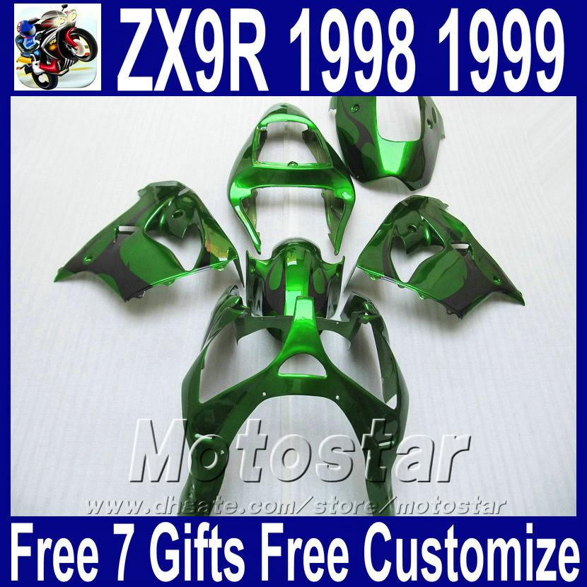 Customize Motorcycle fairings set for Kawasaki ZX9R 1998 1999 ninja 98 99 ZX-9R black flames in green plastic fairing kit SG15