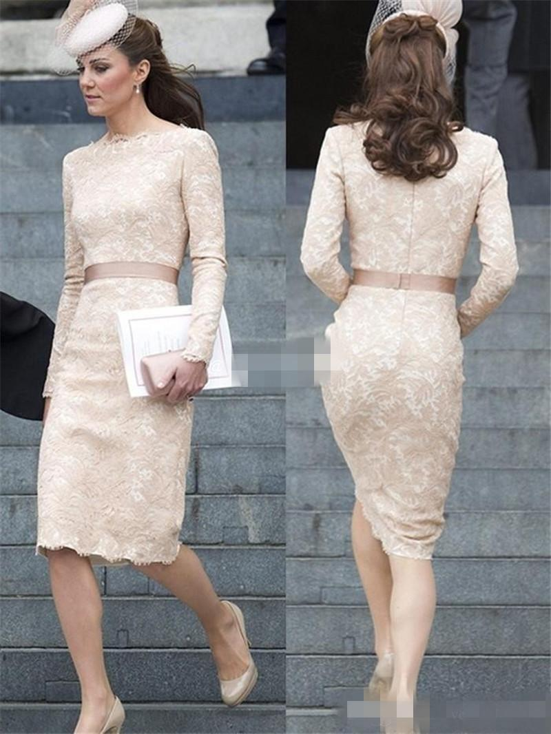 Kate Middleton Short Lace Evening Dresses 2015 Scoop Long Sleeves ...