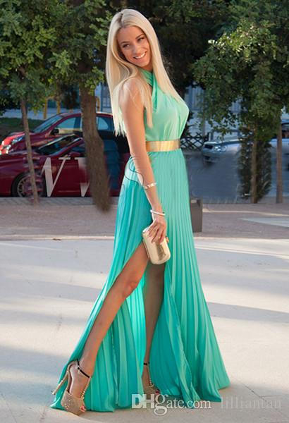 Simple Turquoise Chiffon Long Prom Dresses 2016 Halter High Slit robe de soiree longue Draped Gold Belt Sash Evening Party Graduation Gowns