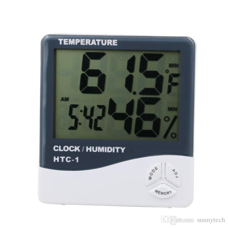 Indoor Room LCD Electronic Temperature Humidity Meter Digital Thermometer Hygrometer Weather Station Alarm Clock HTC-1 LZ0683