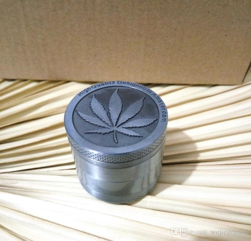 Nouvelle Arrivée Amsterdam Meuleuses 4 Pièces Meuleuses En Alliage de Zinc Herb Grinders Métal CNC Grinder 40mm Diamètre Maple Leaf En Forme Conçu avec Pol