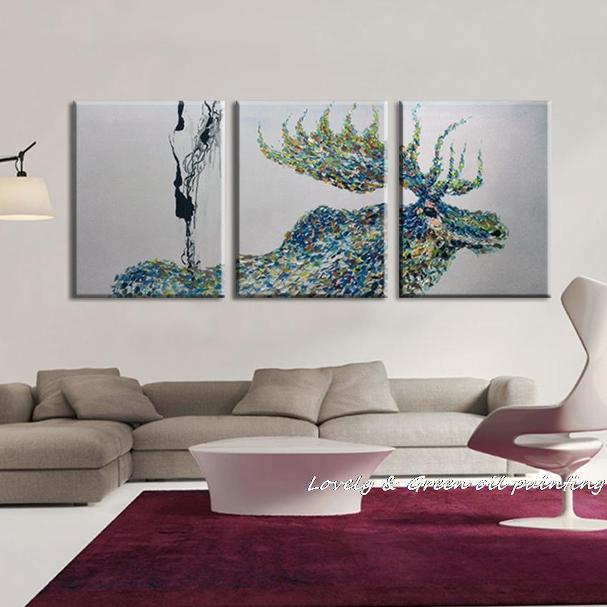 Online Cheap 100% Handpainted 3 Panel Modern Decorative Painting Moose Oil  Painting On Canvas Wall  Living Room ...