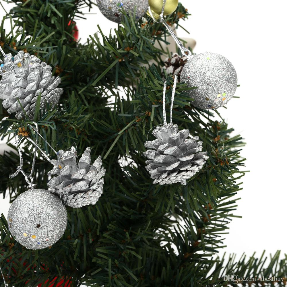 Pine Cone Christmas Decorations 4cm Round Christmas Balls Pine Cones Tree Baubles Light Decoration