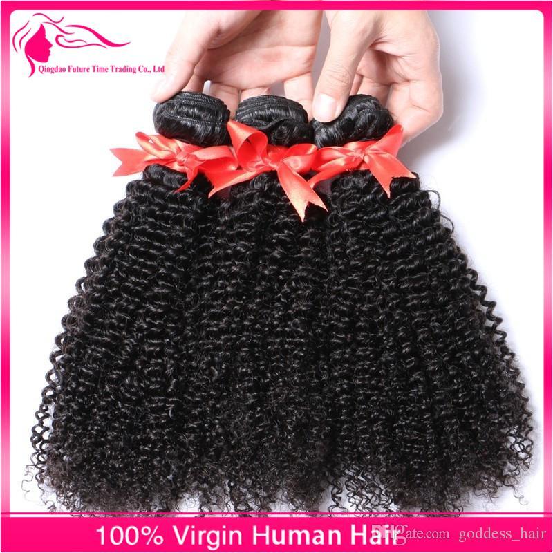 9A rizado Paquetes de cabello rizado con encaje Cierre frontal Libre despedida de cabello humano Oreja a oreja Cordón frontal con paquetes / lote