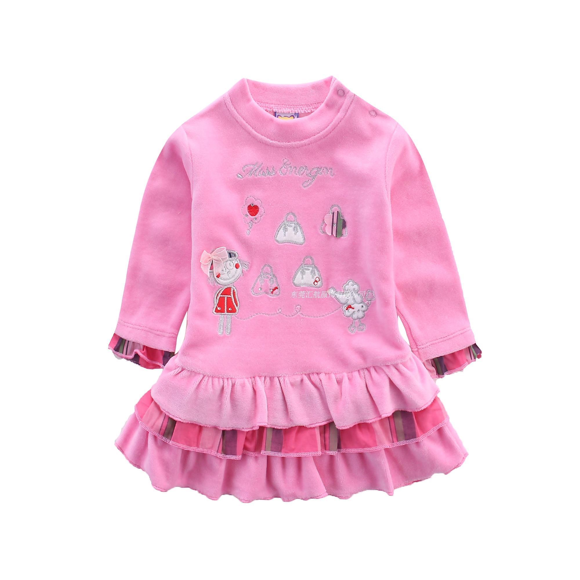 Baby Girl Pleated Dress Velour Children Dresses Kids Clothing Cute