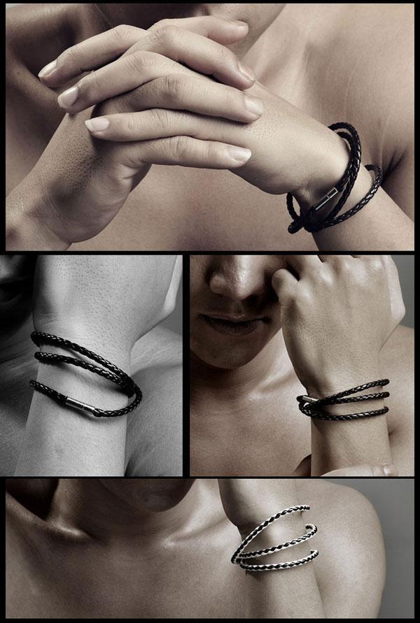 رجال جلدية الإسورة الأساور أسود / براون شبكة المغناطيسي الفولاذ المقاوم للصدأ المشبك مزدوجة التفاف معصمه جميلة التيتانيوم سوار للرجال