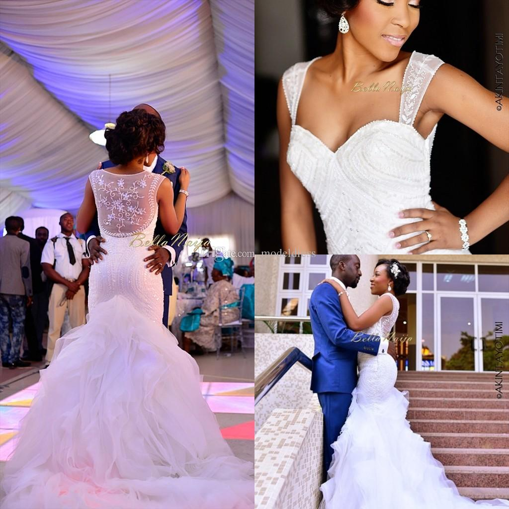 2018 New Nigerian Wedding Dresses Sheer Straps Sequins Mermaid Court Train Elegant Arabic Muslim Plus Size Bella Naija Illusion Bridal Gowns