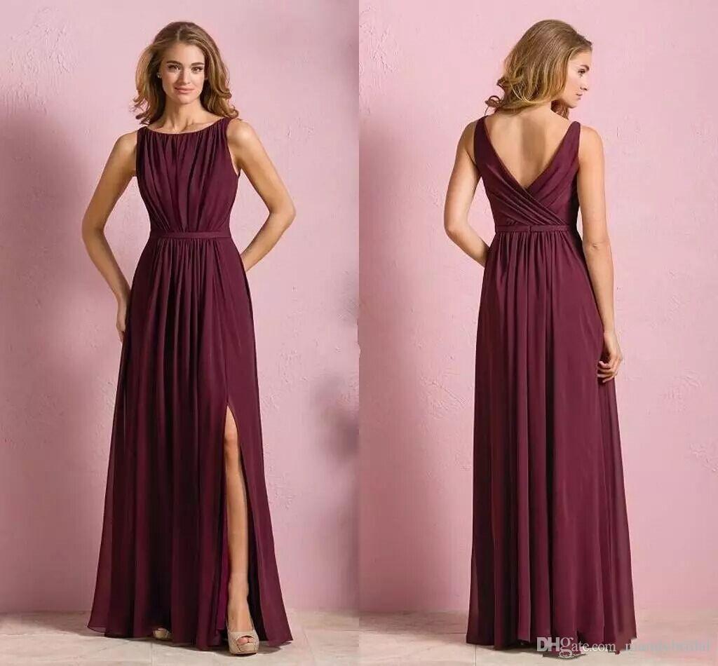 Compre Elegante Gasa Vestidos De Dama De Honor Largos Borgoña Bateau ...