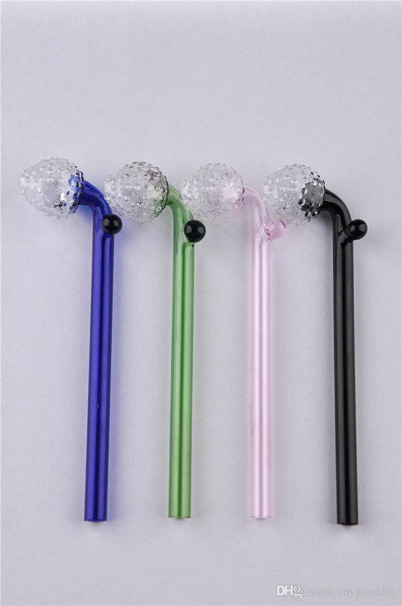 Glass Pipe Smoking Hand Pipes Colored Strawberry Cute Glass Cheap Quality Pretty Glass Pipes 14cm for Sale