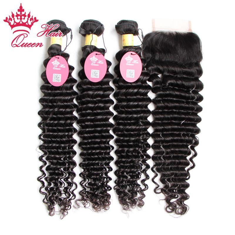 6A Peruano Virgem Cabelo 4 Pçs / lote Onda Profunda, Não processado 100% Peruano Virgem Cabelo Bundle Hair Com Lace Fechamento, DHL Fast Shipping
