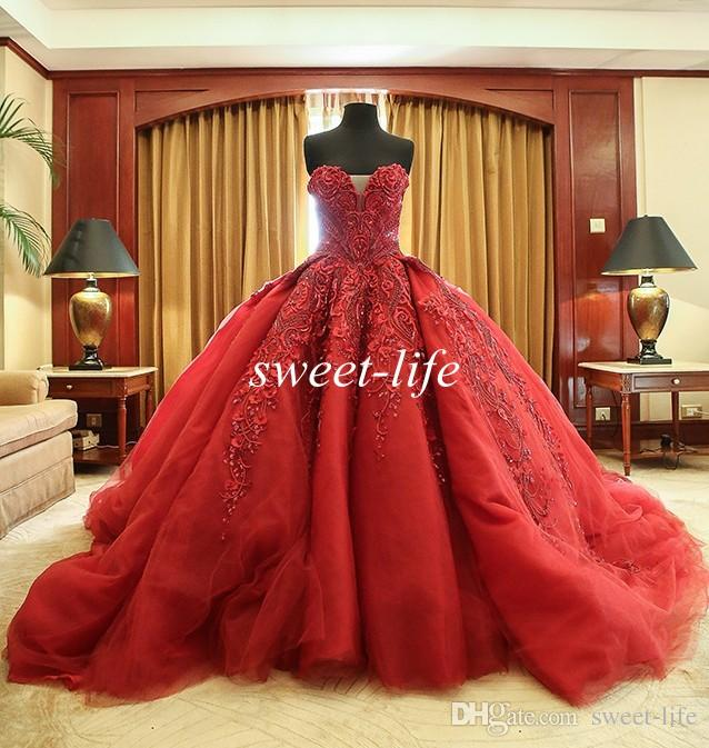 4410678171f Michael Cinco Celebrity Dresses 2016 Ball Gown Wine Red Sweetheart Tulle  Bead Luxury Vintage Wedding Bridal Gowns Backless Formal Prom Dress Cheap  Dresses ...