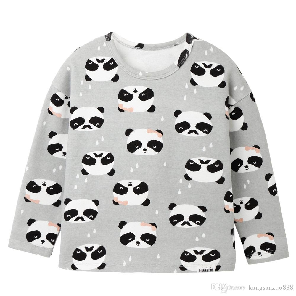 New Panda Pattern T Shirt For Kids Knitted Cotton Blouse 2017 Winter