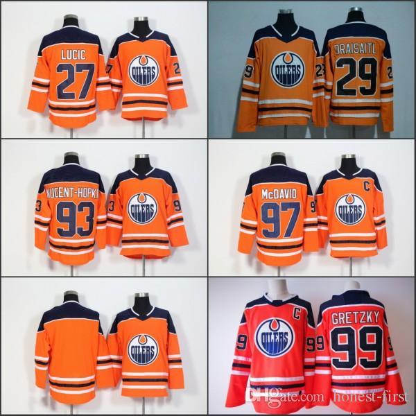 brand new 21dd8 251e7 2017-2018 Season Edmonton Oilers Jerseys #29 Leon Draisaitl #97 Connor  McDavid #99 Wayne Gretzky Blank Orange Hockey Jerseys Free Shipping