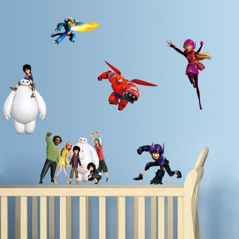 big hero 6 wall sticker cartoon character removable poster boys see larger image