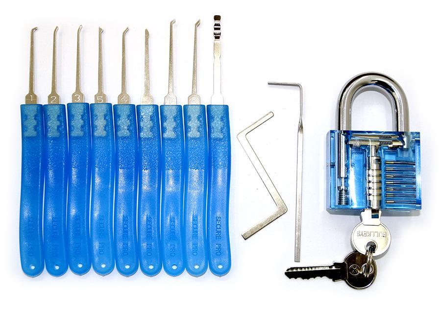 9 피스 자물쇠 픽업 세트 자물쇠 따기 도구가있는 자물쇠 자물쇠 실습 자물쇠 실습 트레이너 실습