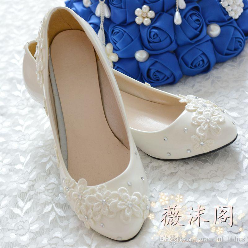 Ivory Small Flower Wedding Shoes Kitten Heel Crystal Lace