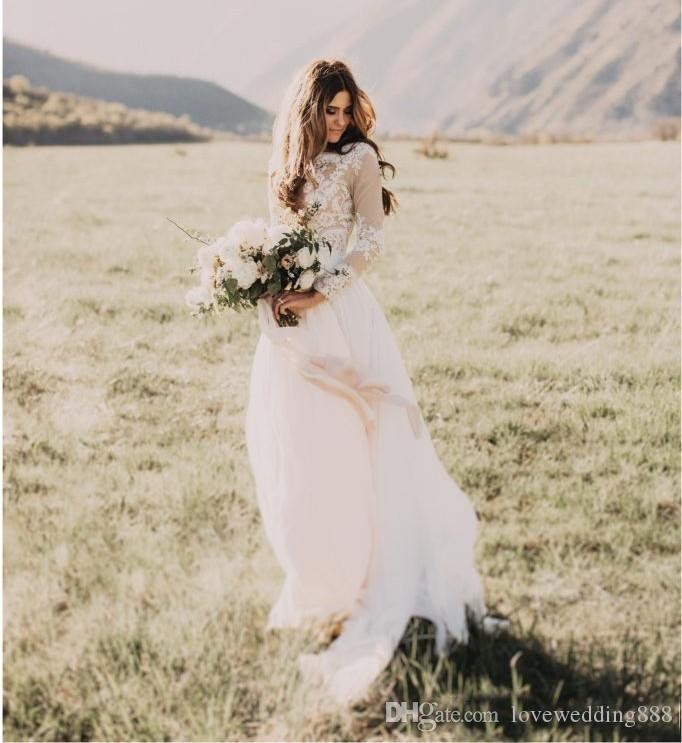 Bohemian Country Lace Applique Chiffon Wedding Dresses with Sheer Long Sleeves Jewel Neck A Line Bridal Wedding Gowns Cheap