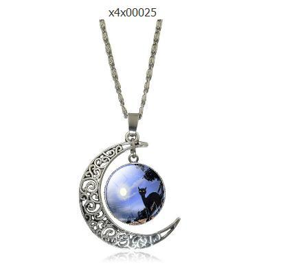 Alloy Hollow Moon Pendants Silver Chain Statement Necklaces 2016 New Fashion Jewelry Charms Friend Best Gifts
