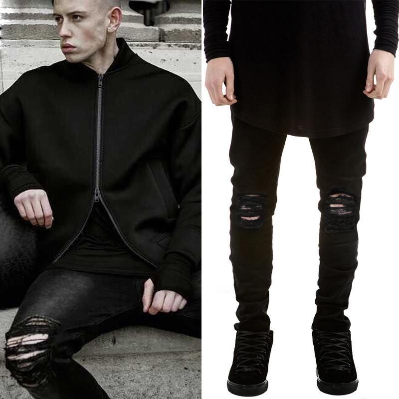 2016 summer mens destroyed denim jeans thin cool slim fit hi street style black ripped jeans pants men ay863