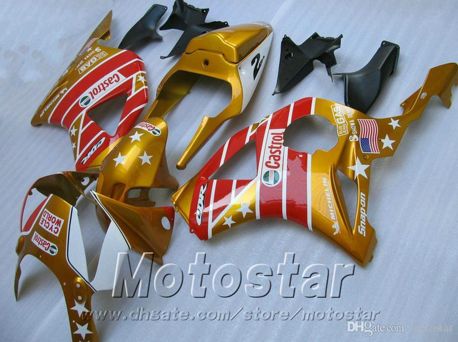 Injection molding Fairings set for Honda cbr900rr 954 2002 2003 red black golden CBR900 954RR freeship fairing body kit CBR954 02 03 YR55
