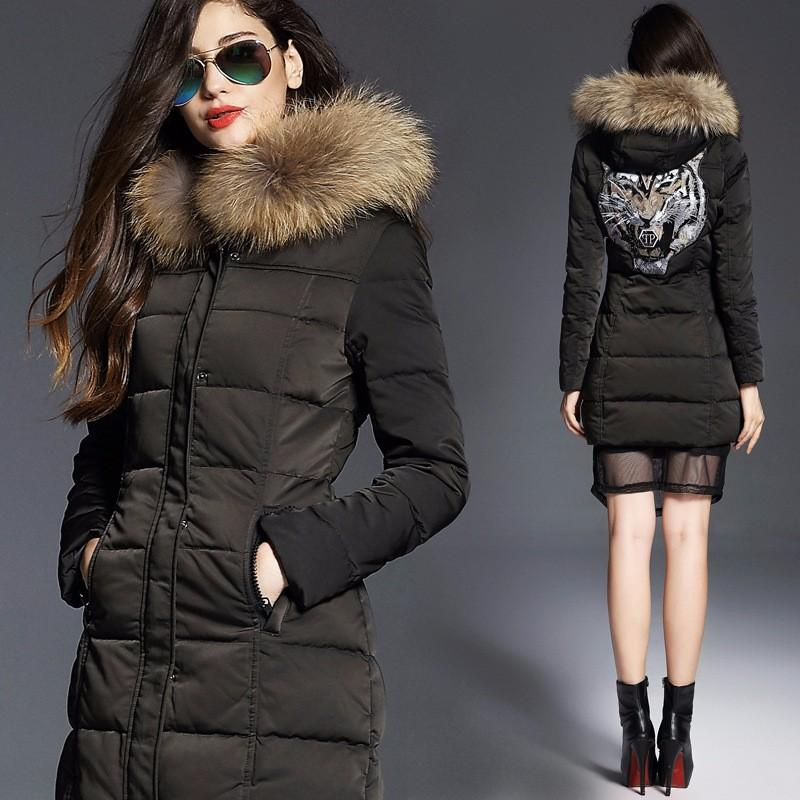 Hot Sale! Women Parkas White Duck Down Tiger Pattern Slim Winter ...