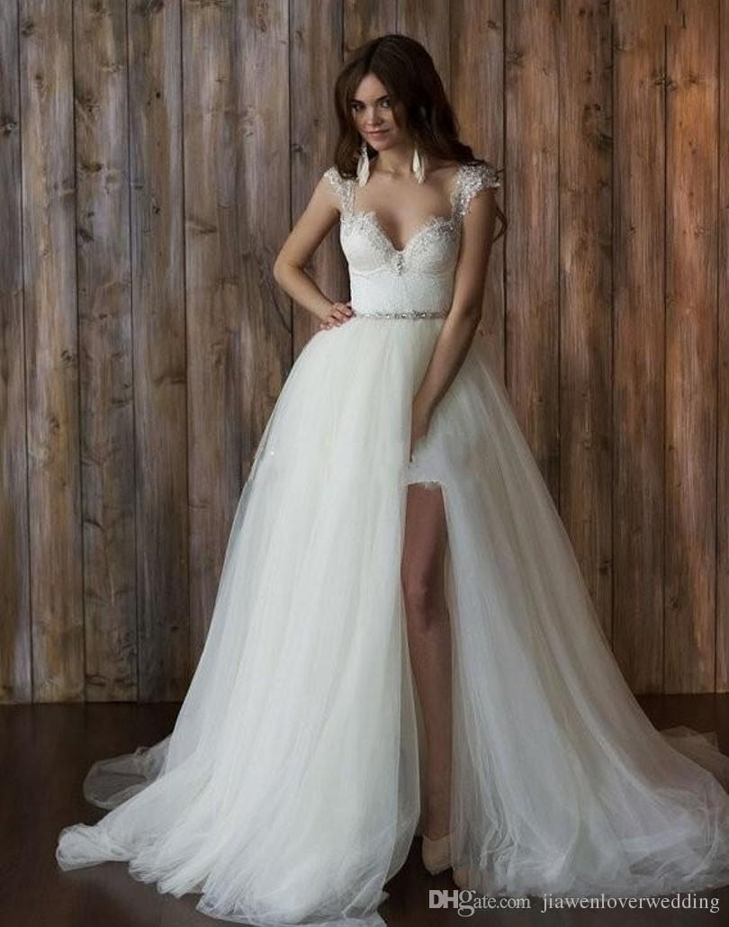 Discount Bridal Gowns Sexy Lace Detachable Skirt