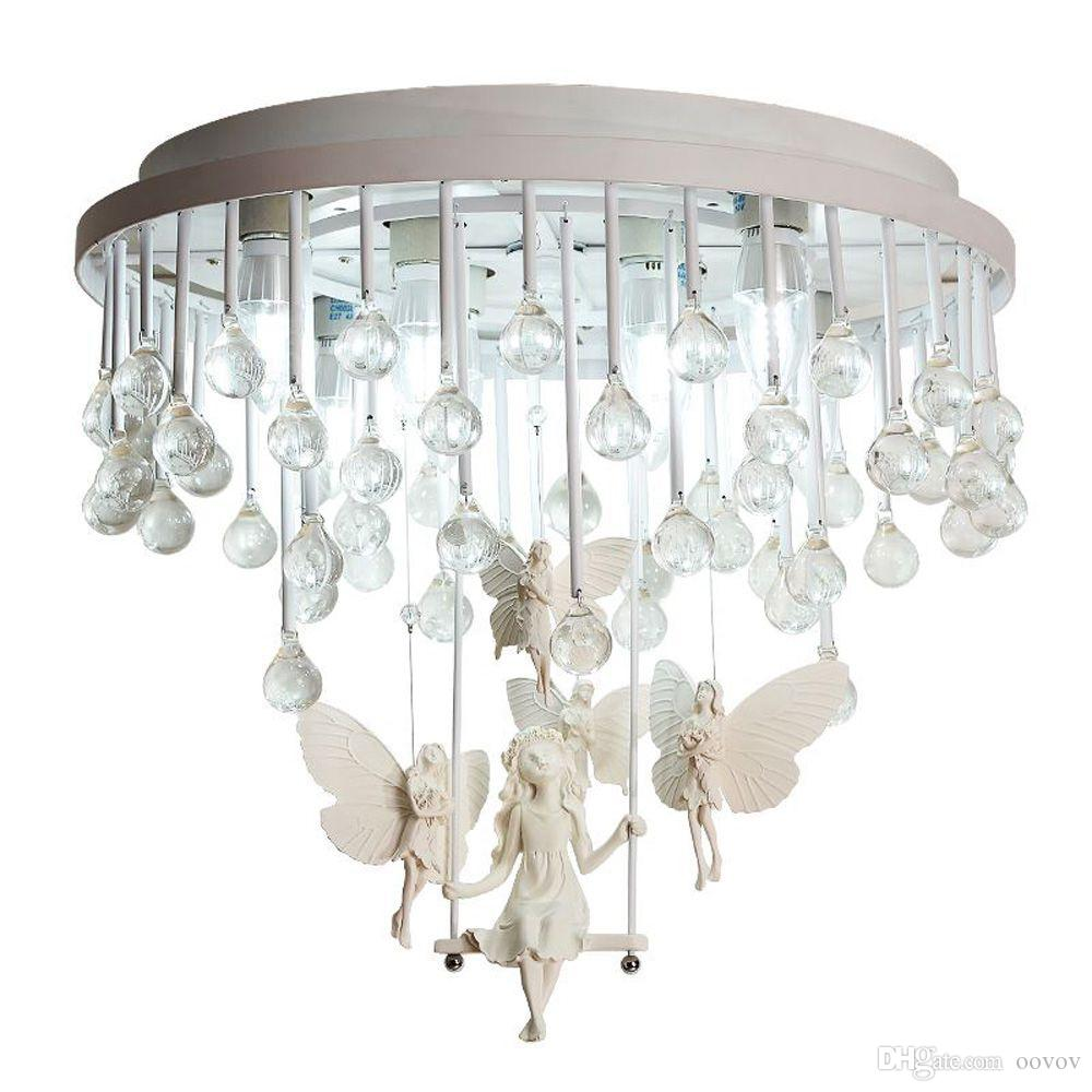 2019 creative crystal angel ceiling lamp fixturesprincess room baby room bedroom ceiling lights18whiteironresin from oovov 244 23 dhgate com