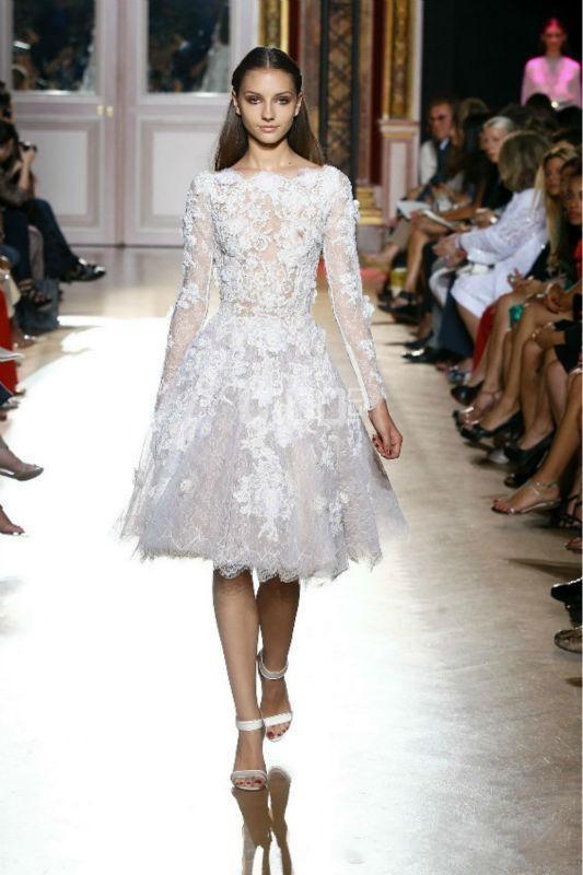 Zuhair Murad Białe Koronki Długie Rękawy Prom Dress Aplikacje Długość Kolana Prom Evening Suknie Eleganckie Długie Rękaw Party Suknia