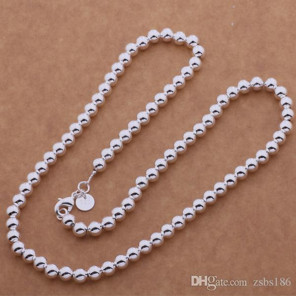 Factory price 925 sterling silver plated 6MM 8MM 10MM beads chain necklace Length 50CM Top quality fashion unisex jewelry