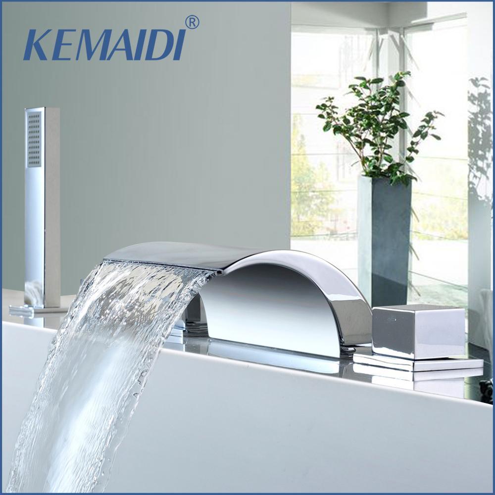 2018 Kemaidi Deck Mount Waterfall Shower Set Bathtub Tub Shower ...
