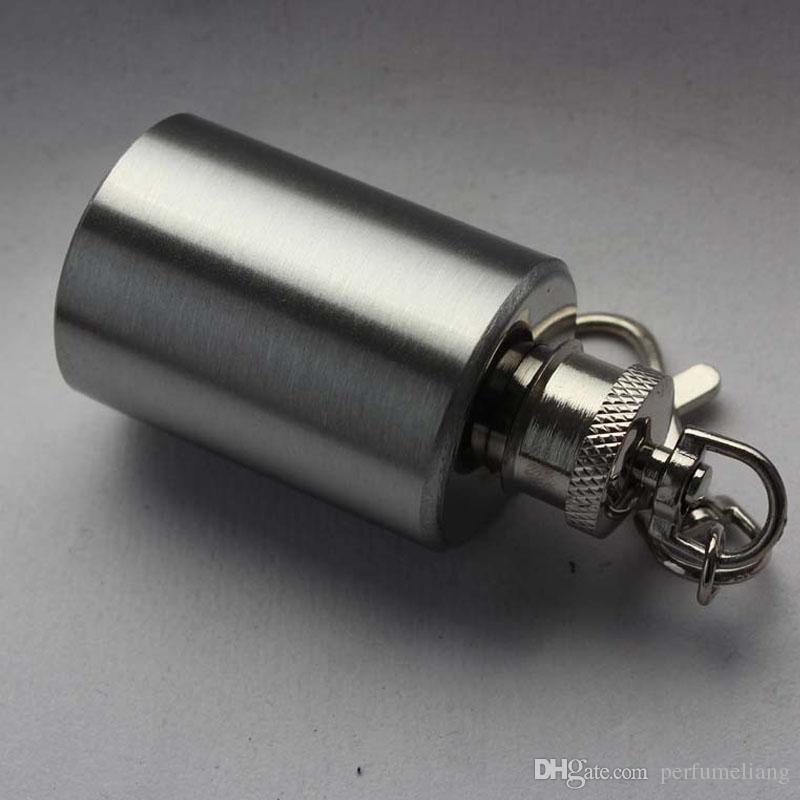 Mini Portable Cylindrical Small Wine Pot Bottle With 1oz 304 Stainless Steel Flagon Hip Flask With Keychain ZA5199