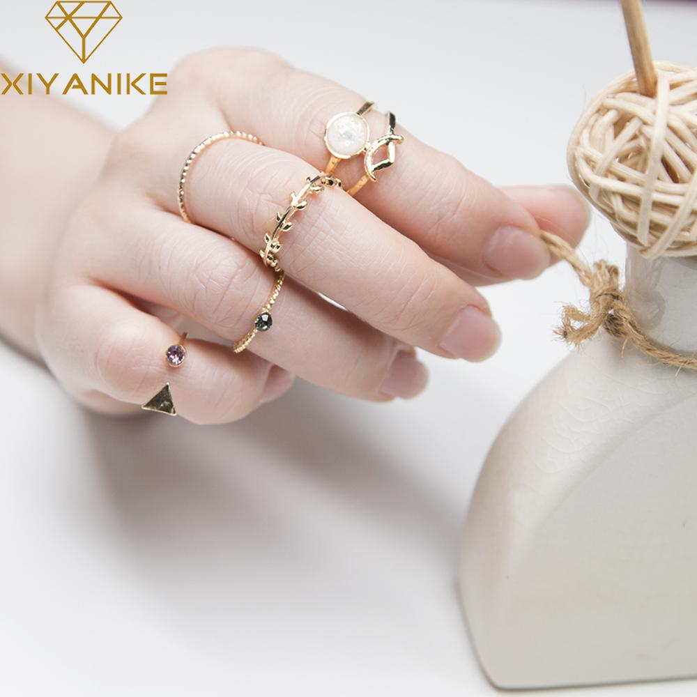 XIYANIKE Hot Sale 5 UNID/SETS Nature Stone Rings Sets Trendy Charm ...