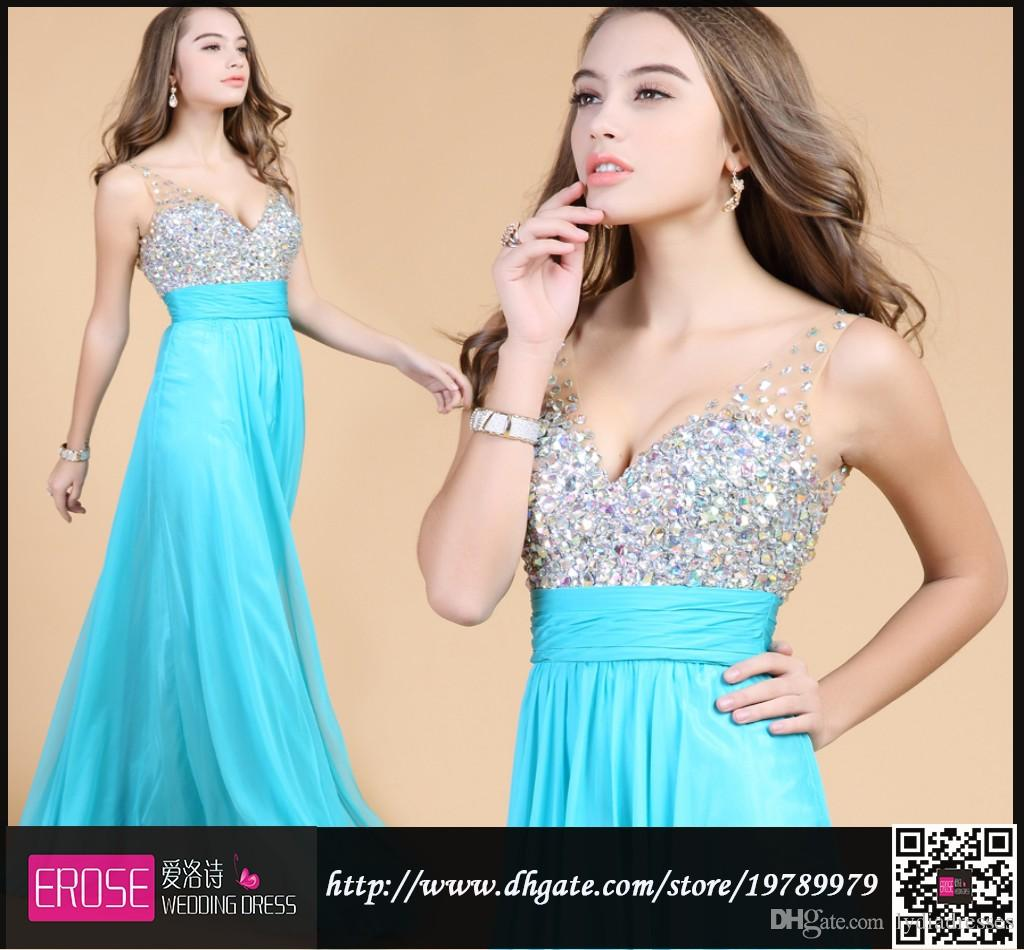 Prom Dresses Under $100 2015 A Line Inspired Beaded Sequins Sheer ...