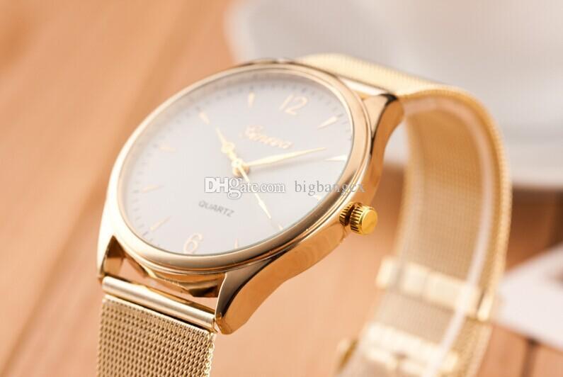 Mulheres Genebra Relógios Mais Novo Liga de Malha de Liga Relógio Cool Preço de Fábrica Golden Band Senhoras Quartz relógio de pulso