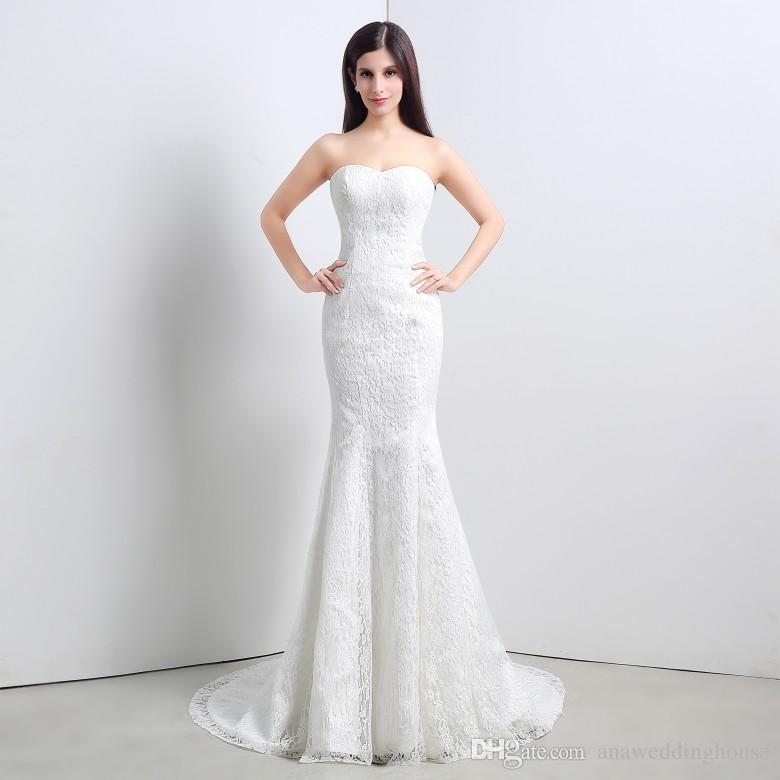 Русалка Кружева Свадебные платья с наручниками в наличии размер от 4 до 16 милая Длина пола Сад Скромные свадебные платья 2015
