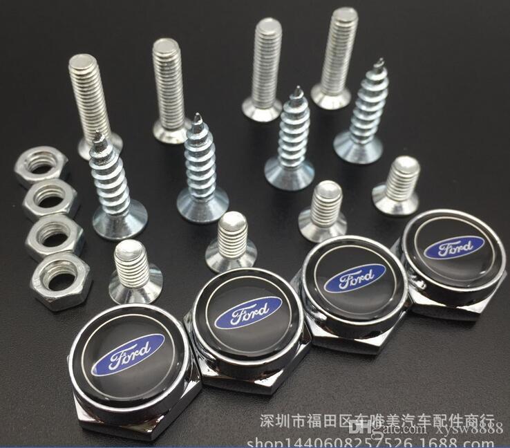 Chrome License Plate Bolt Frame Screw Caps Cover Bolt Auto Nuts For Ford Focus Mondeo M47909