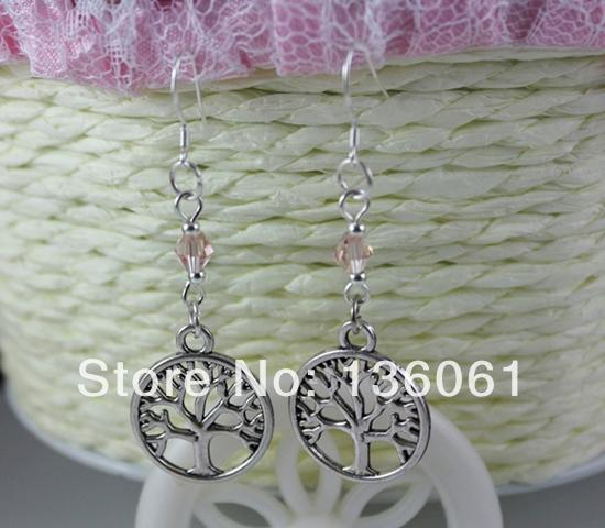 925 Sterling Silver Earrings Alloy Tree Life &Crystal Beads Charms Dangle Chandelier Earrings Gift For Women DIY Jewelry Bijoux NEW 10 Pair