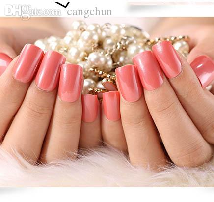 Wholesale Solid Color False Nails Bride Nail Tips Design Decorated