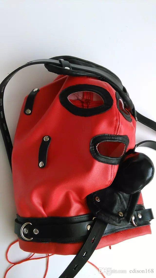 Più nuovo Cappuccio in pelle morbida bondage Maschera con benda a scomparsa SILICONE dildo Tappo a bocca Copricapo BDSM Prodotti del sesso giocattoli rosso nero