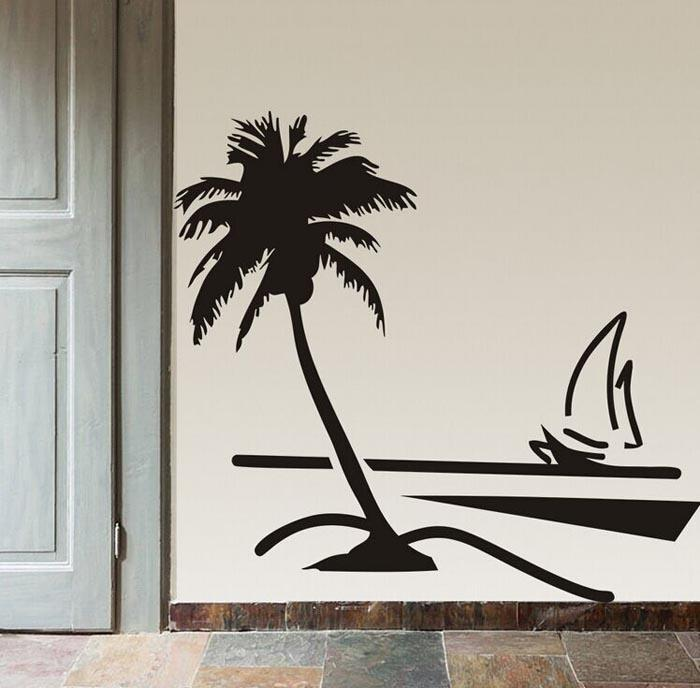 bathroom wall vinyl beach coconut palm tree sailboat wall art bathroom with glass