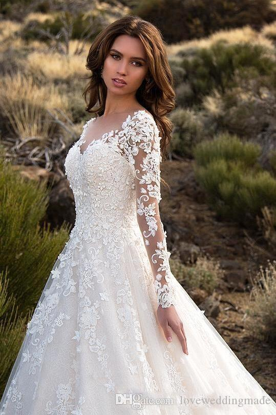 2018 Newest Gorgeous Ivory Sheer Long Sleeves Wedding Gowns Lace Tulle Sexy Backless Bridal Dress Robe De Mariage Fall Winter