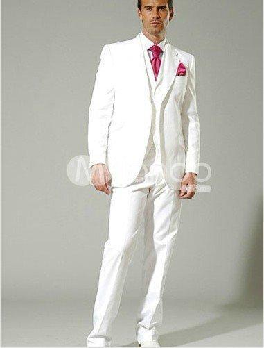 Smart White Mens Suits Notched Lapel Tuxedos For Men Wedding Suits ...