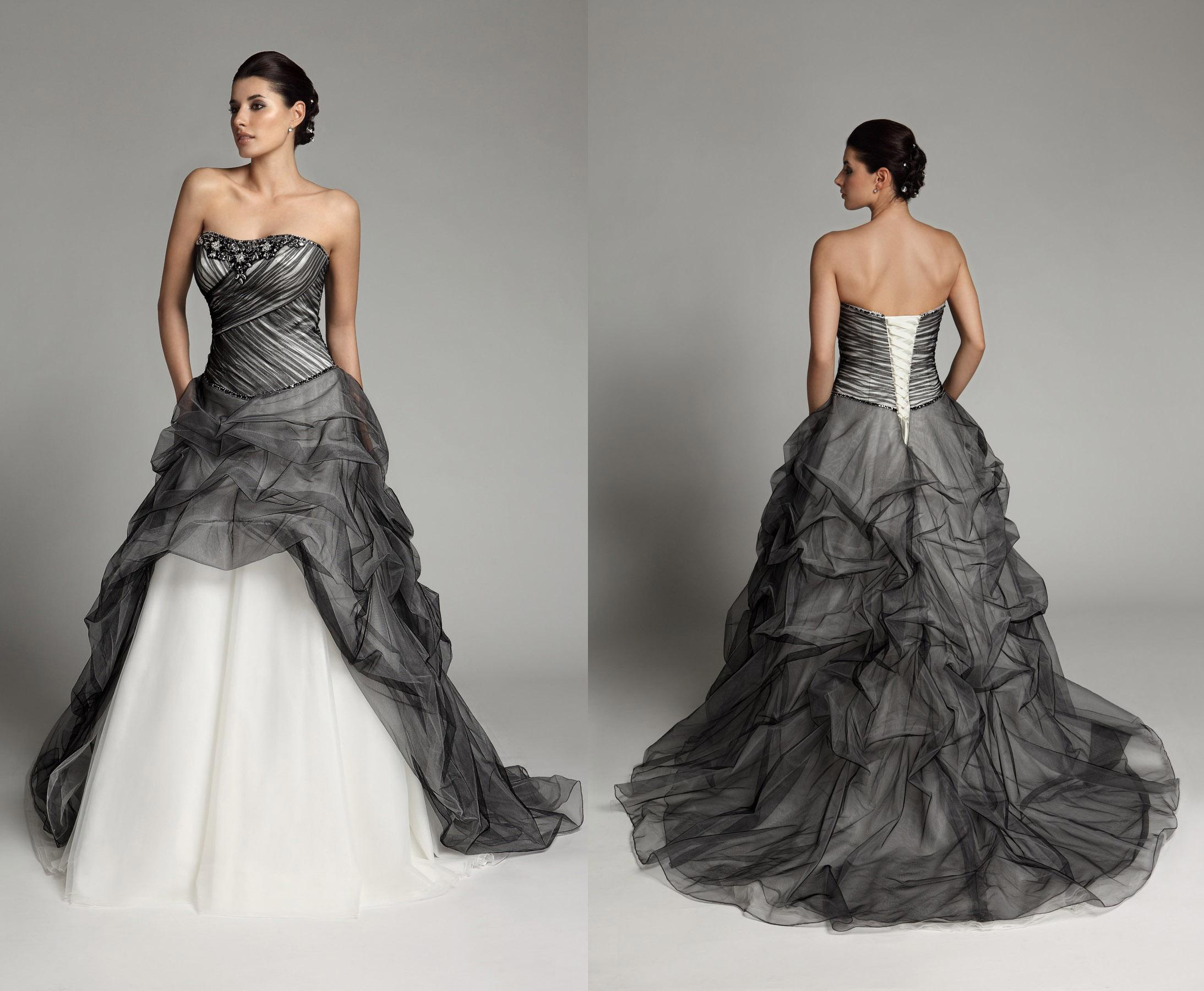 Discount 2015 New Black And White Wedding Dresses Crystal Beads ...