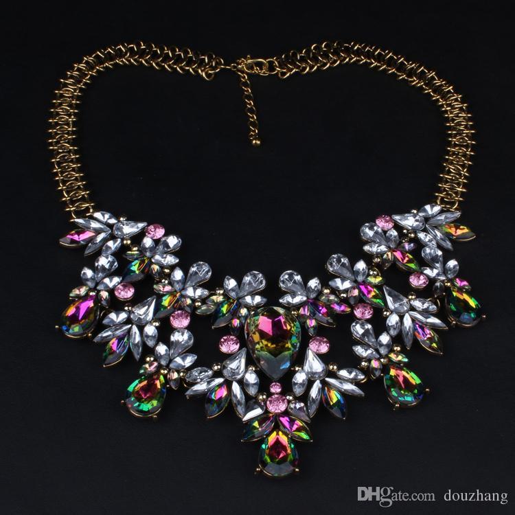 Mode À La Mode De Luxe Chunky Coloré Cristal Fleur Déclaration Collier Ras Du Cou De Haute Qualité Floral Bijoux Pour Les Femmes En Gros